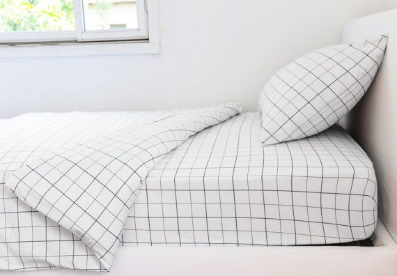 Monochrome Grid Twin Sheets Set With Pillowcase Fitted Sheet Etsy Kids Bedding Sets Kids Twin Bedding Sets Toddler Bed Set