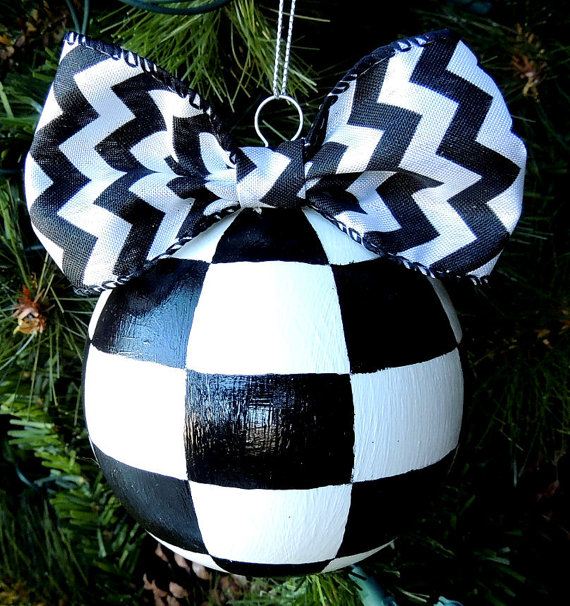 Hand Painted Christmas Ornament Hand painted ornament Black White