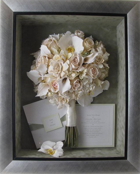 Preserved Bouquet In A Frame With Other Wedding Day Memorabilia