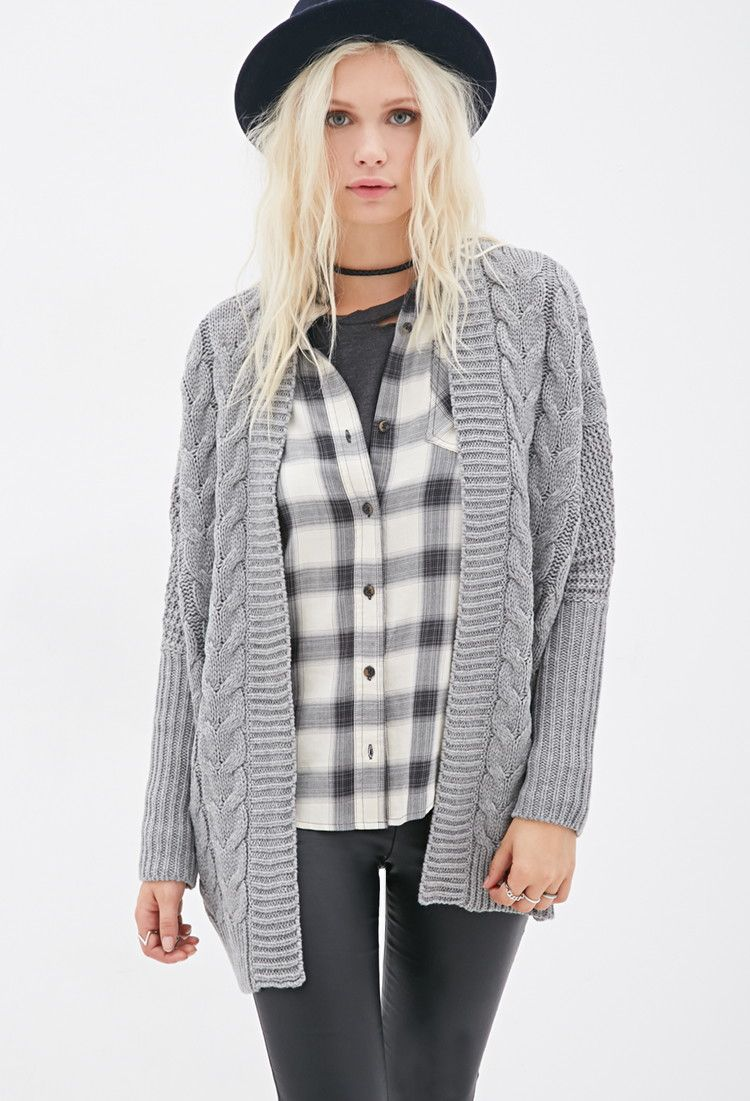 Oversized Cable Knit Cardigan | Forever 21 - 2000081883 | Juice ...