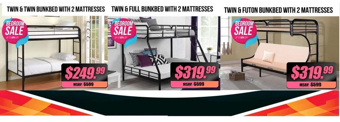 Bedroom Clearance Sale Bunkbeds Are Liquidated Twin Twin Bunkbed With Mattresses 249 99 Twin Full And Tw Mattress Furniture Bedroom Sale Discount Furniture