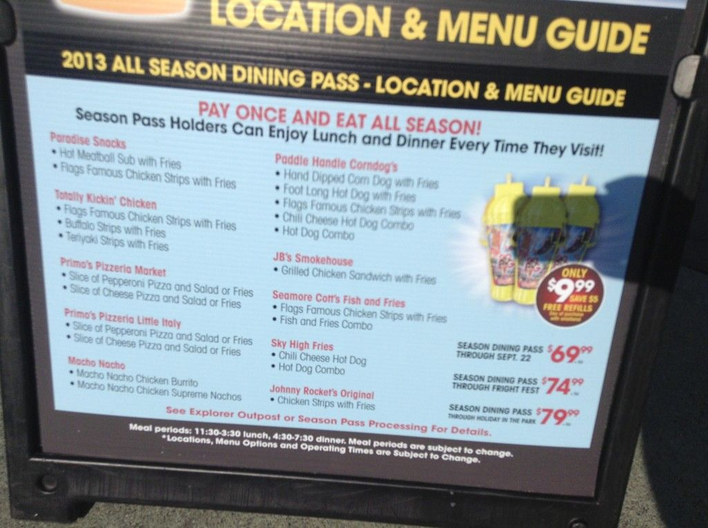 Six Flags Discovery Kingdom Updated Location Menu Guide For Season Dining Pass Menu Restaurant Menu Dining