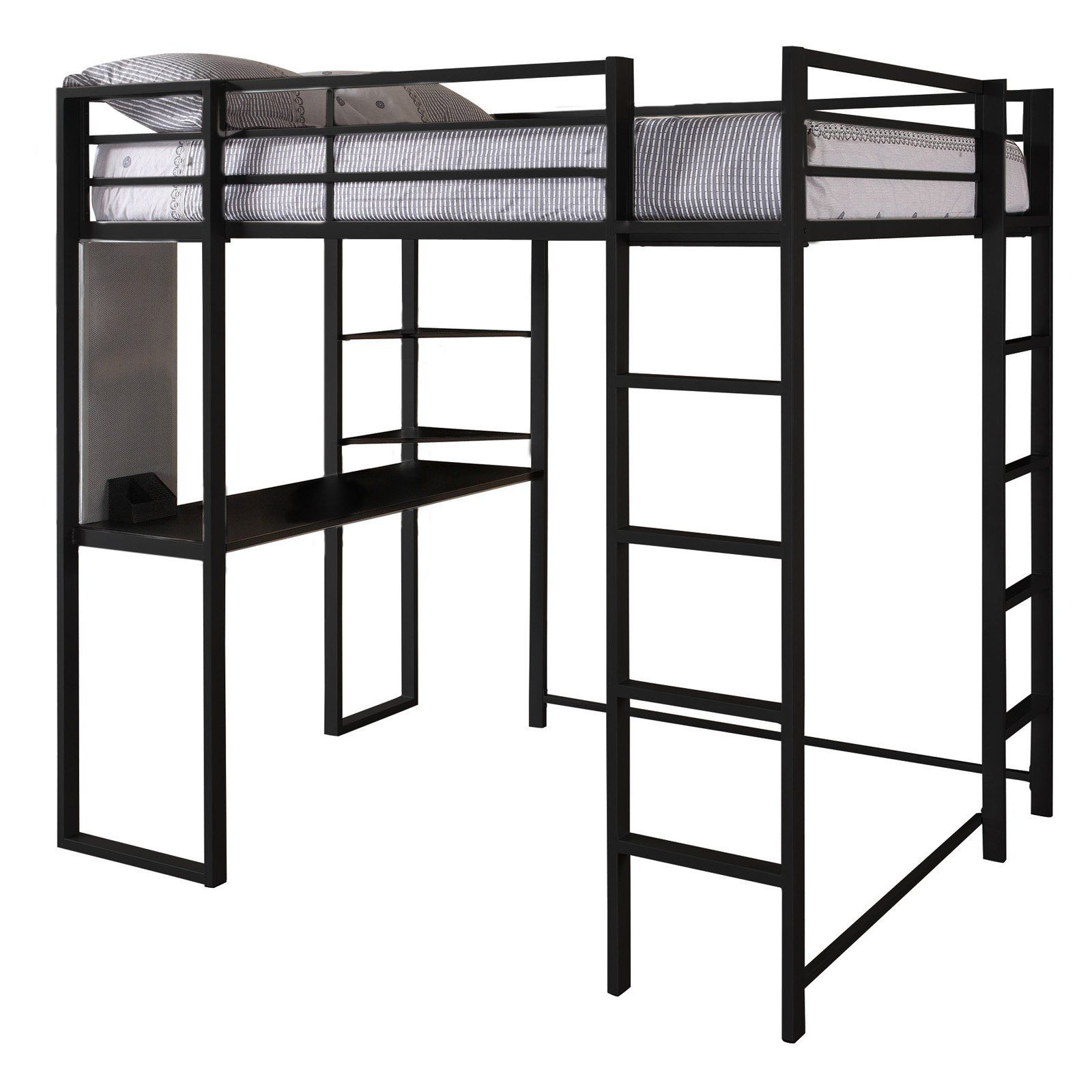 Loft bed with desk full size  Amazon  Dorel Home Products Abode Full Size Loft Bed Black