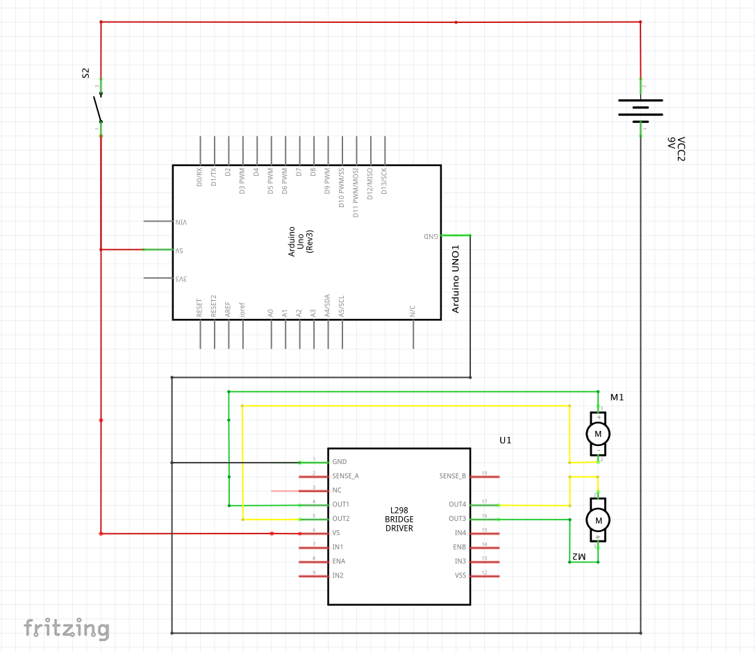 stroomschema, object avoiding car Arduino | ROBOTICA - fritzing