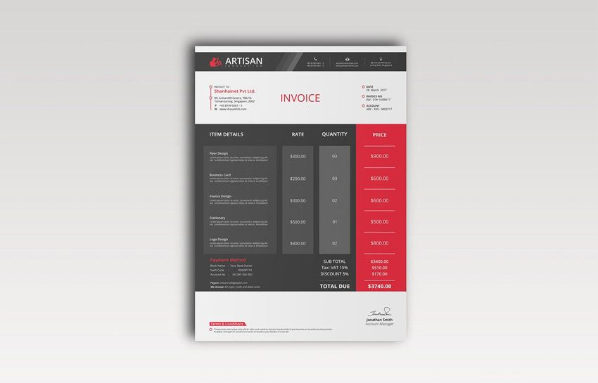 Sophisticated Invoice Template  Career  Invoicing Freelance
