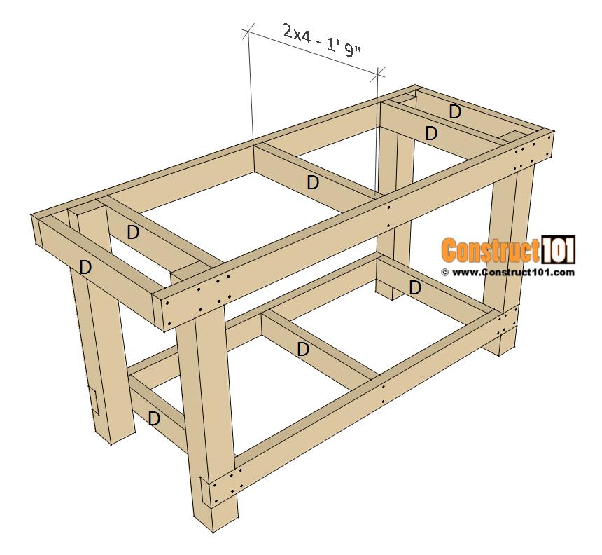 Planos simples de bancos de trabajo - paso 3 # banco de carpintería antiguo # Construct101 #simple # banco de carpintería vintage #woodworkin - #antiguo #banco #bancos #carpinteria #planos #simples #trabajo