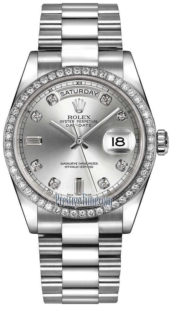 Rolex Day-Date 36mm Platinum Diamond Bezel 118346 Silver Diamond President #rolexwatches