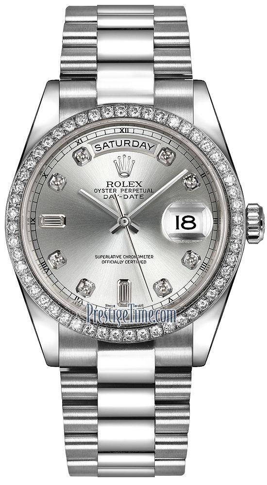24b33f16fbd Rolex Day-Date 36mm Platinum Diamond Bezel 118346 Silver Diamond President