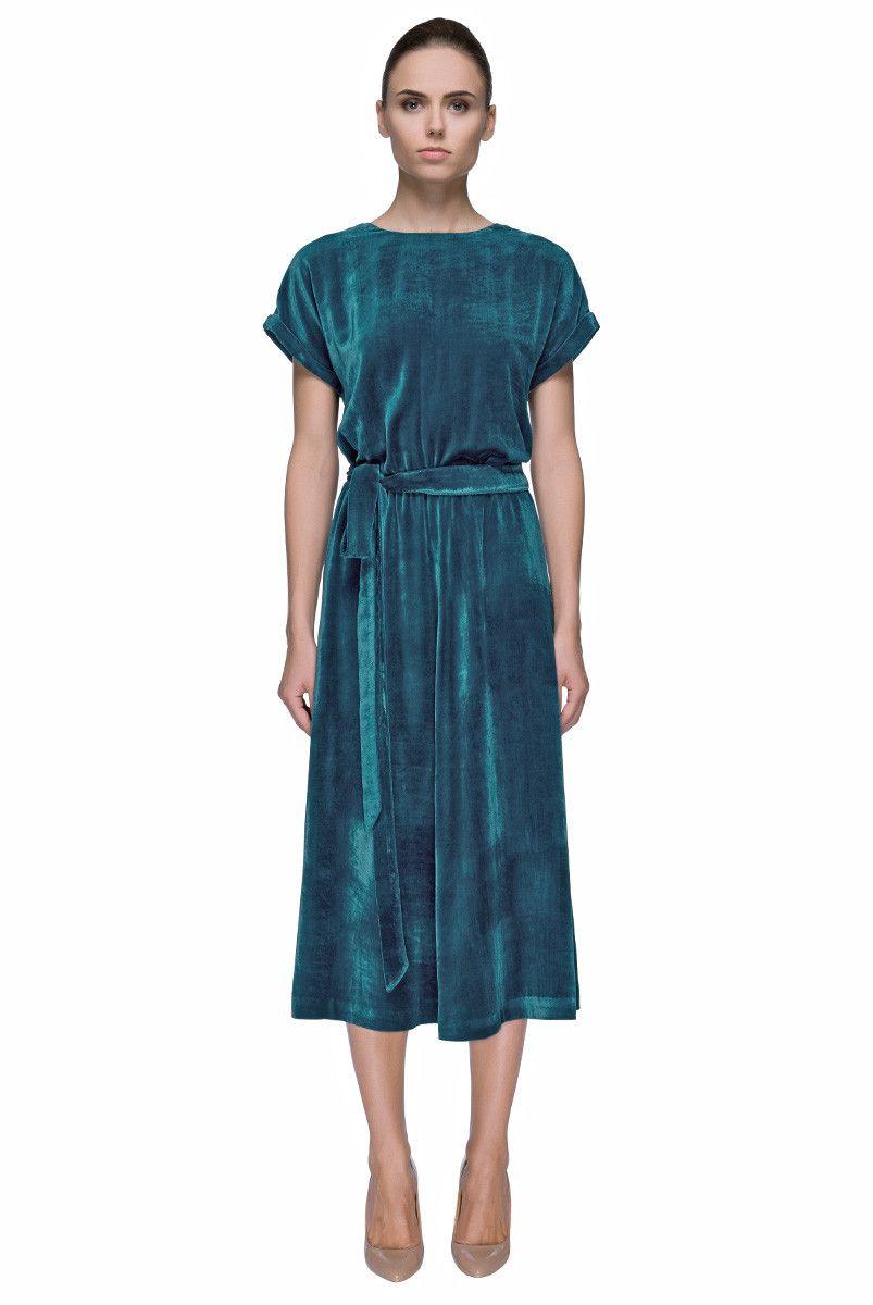 Green dress short in front long in back  Nostalgic Skyu Teal Blue Short Sleeve Silk Velvet Midi Dress  My
