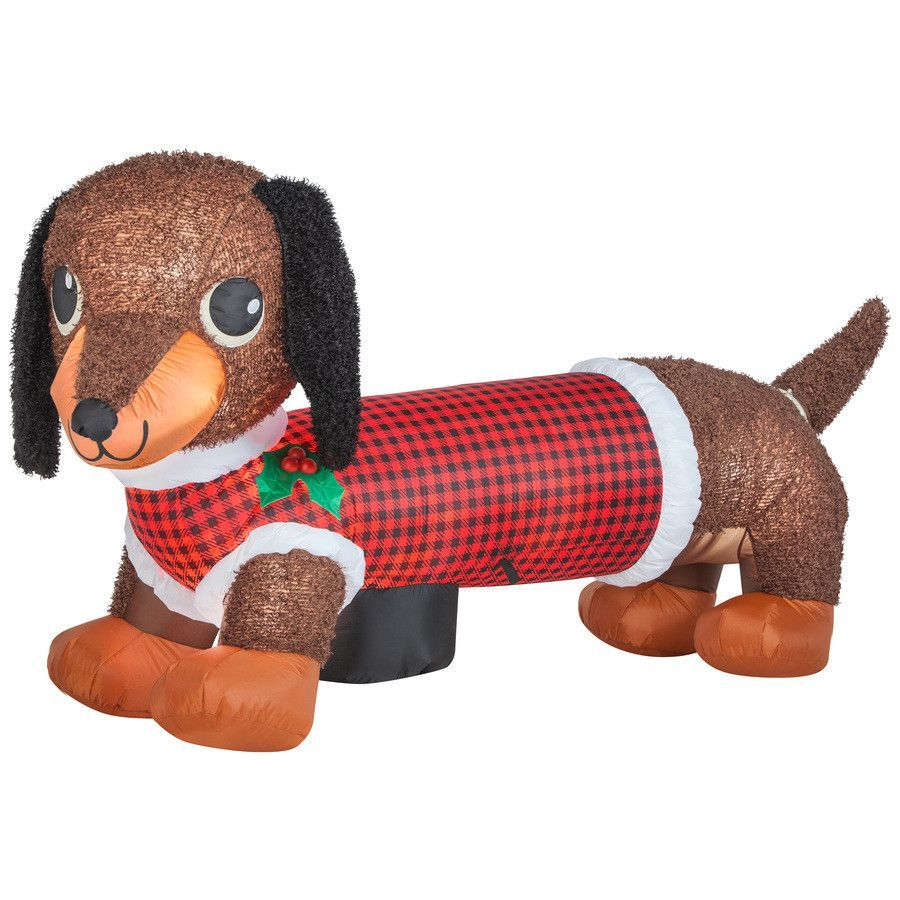 Description Lighted Weiner Dog Christmas Inflatable Wearing A Festive Plaid Shirt Adds An Eye Catching Display To Your Outdoor Scenery Internal Lights