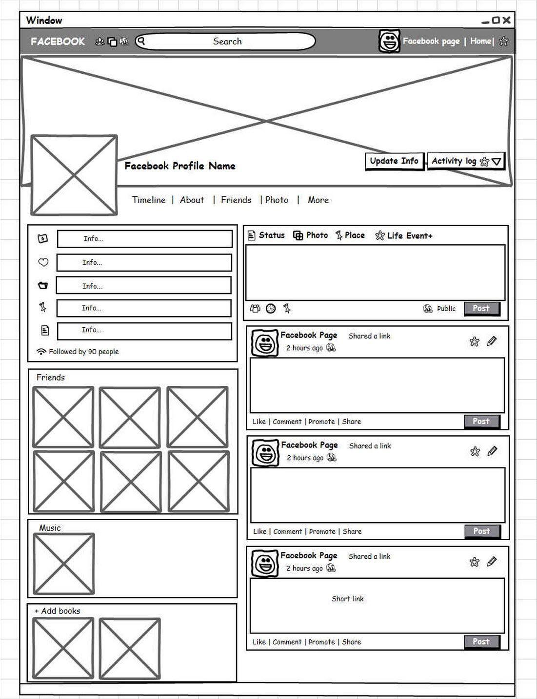 Social Network Profile Page Wireframe Wireframe Wireframe Mockup Web Design