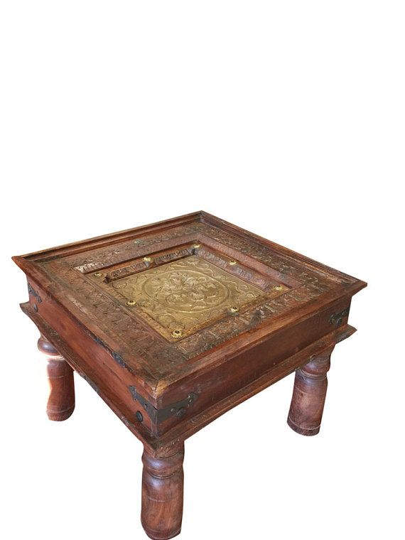 indian antique side table chakra hand carved brassmogulgallery