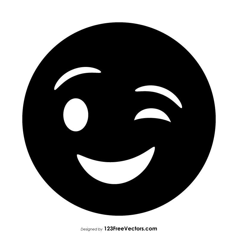 Black Winking Face Emoji In 2020 Winking Face Emoji Face Doodles Winking Face