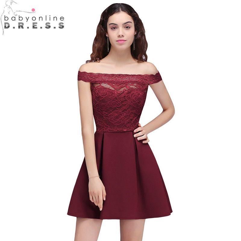 ed11cc45f Cheap 2018 barato Borgoña Encaje hombro Vestidos de cóctel cortado corto Vestidos  de baile fiesta vestido lindo mujeres vestidos
