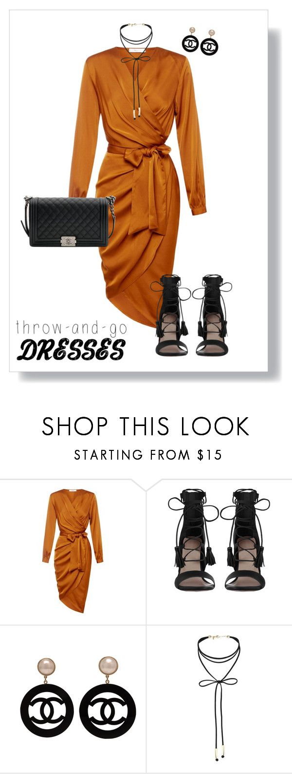 """""""Yellow Dress"""" by sara12alexandra ❤ liked on Polyvore featuring Zimmermann, Chanel, Miss Selfridge, yellow, black, dress, sandals and bag"""