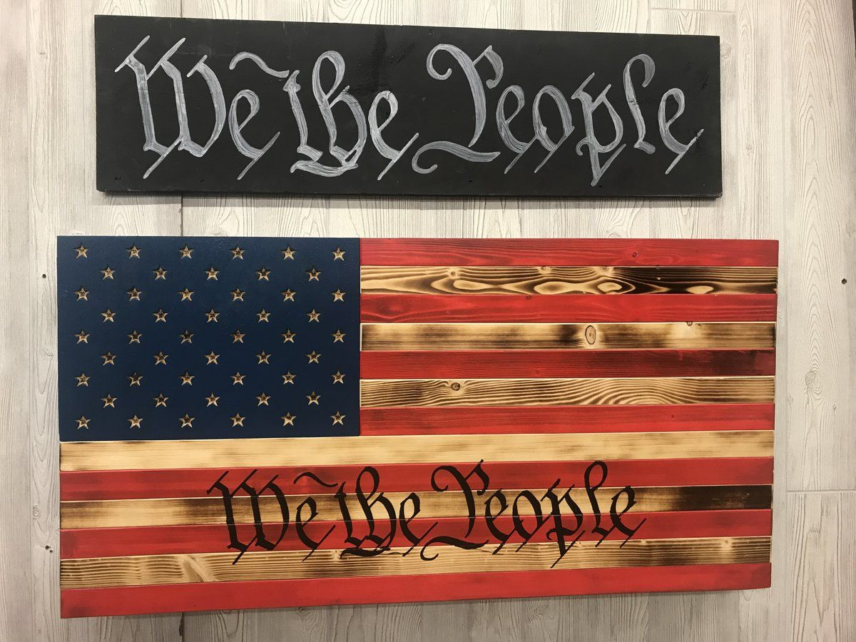 We The People Red Burnt Pine And Blue Concealment Flag Concealment Flag Wooden American Flag Decor American Flag Wall Hanging