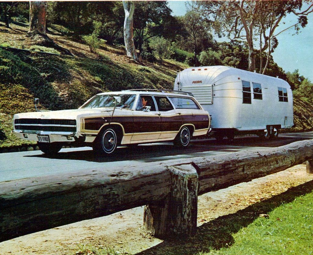 1969 ford country squire station wagon with airstream. Black Bedroom Furniture Sets. Home Design Ideas