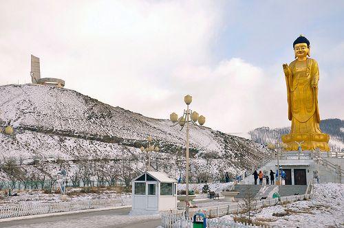 The Buddah of Zaisan, with the Zaisan memorial to the left.