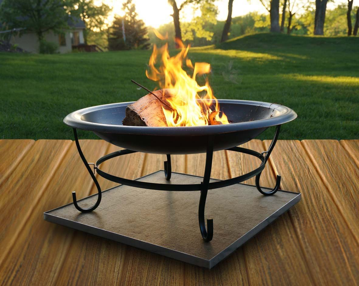 Deck Protect Dp2002 16 Quot X 16 Quot Fire Pit Pad And Rack The