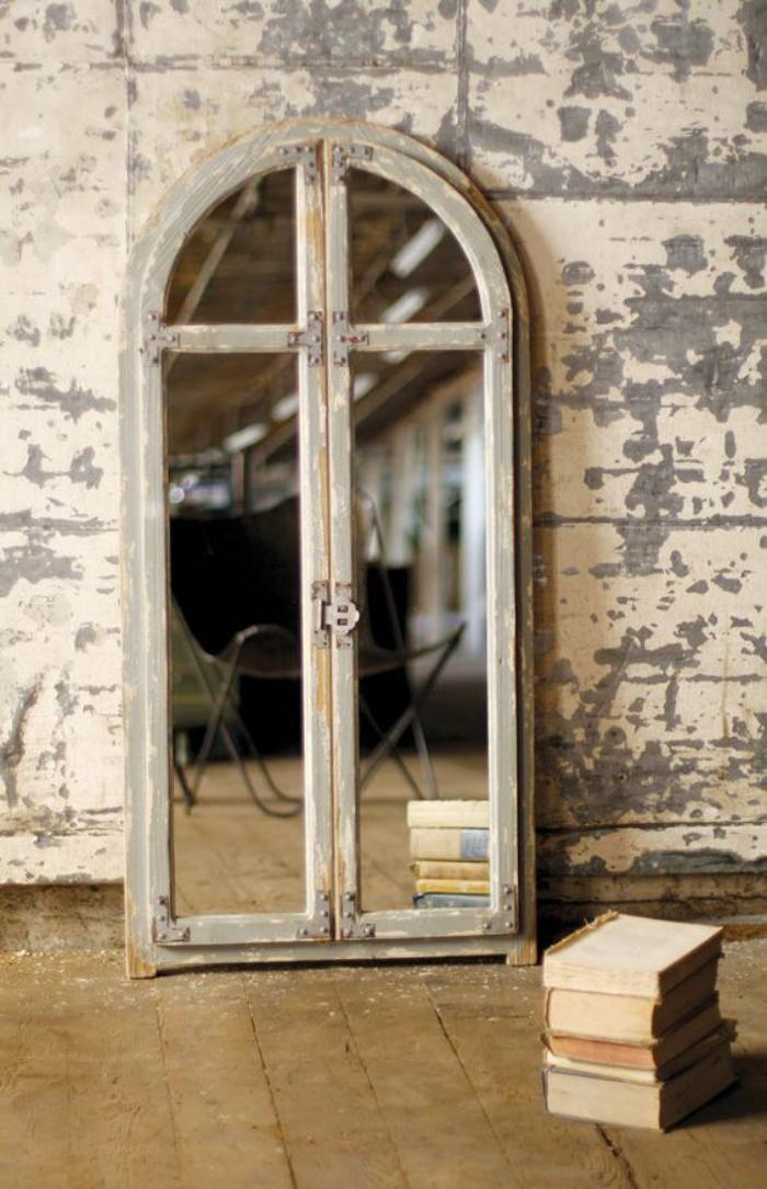 miroir fenetre arcade en bois