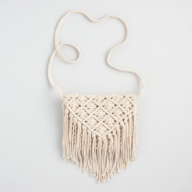 Ivory Macrame Crossbody Bag with Fringe - v1