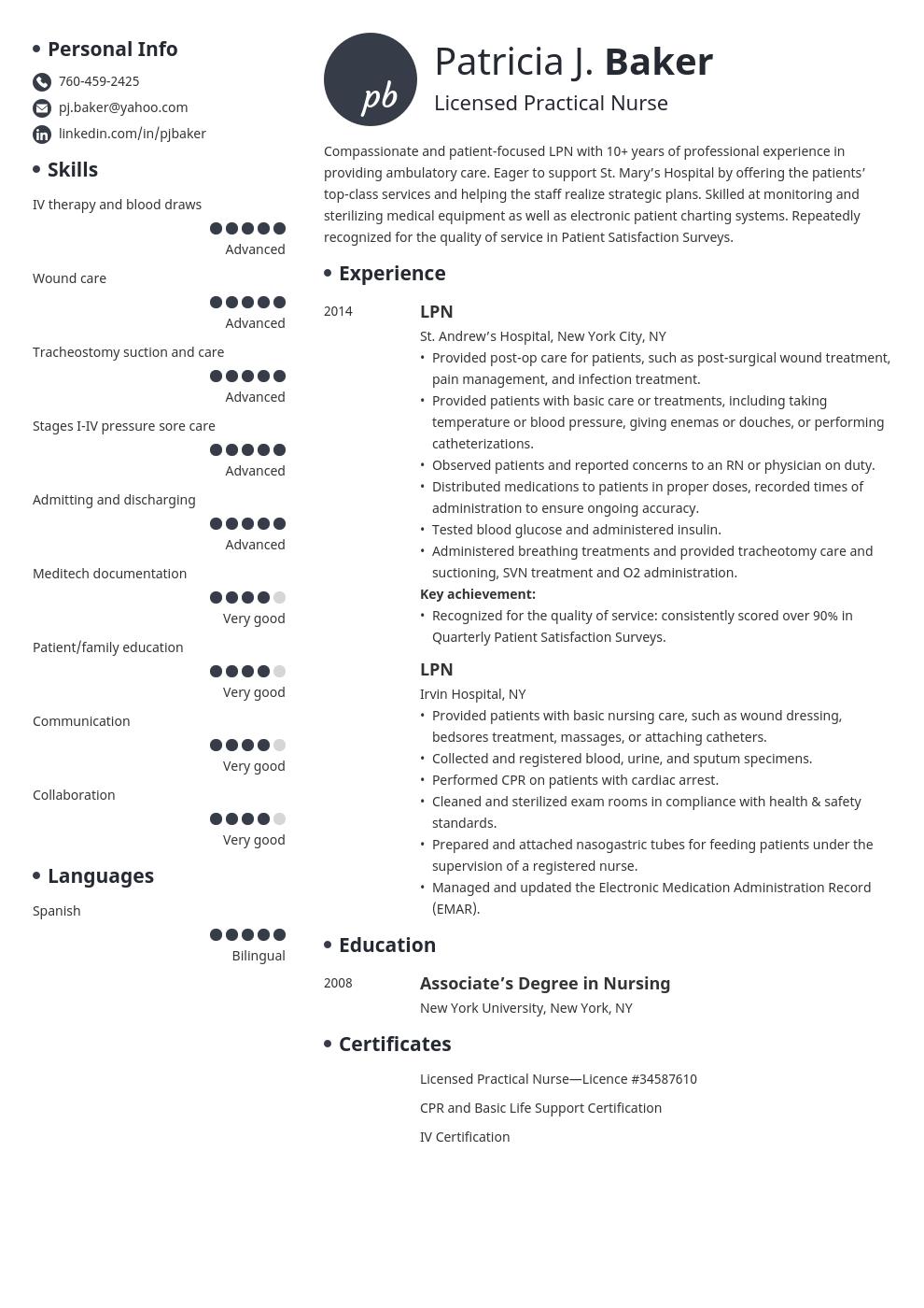 Lpn Resume Example Template Initials Lpn Resume Nursing Resume Examples Resume Examples
