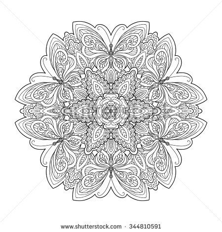 Coloring Book For Adult And Older Children Page With Mandala Made Of Decorative Vintage