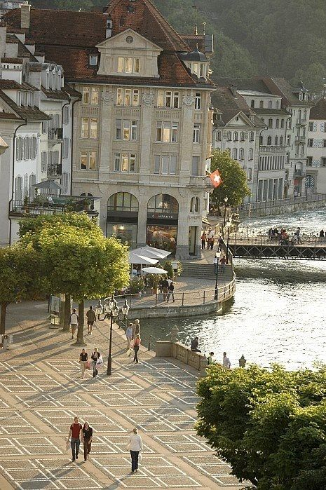 Lucerne, Switzerland  My husband really wants to see Switzerland. It looks gorgeous!