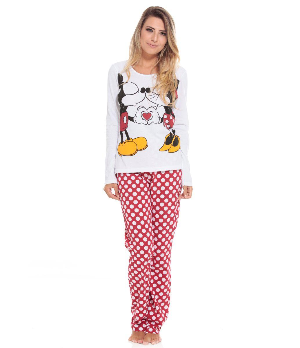 0d45669c371f70 Pijama Feminino Manga longa Gola redonda Estampa do Mickey e Minnie ...