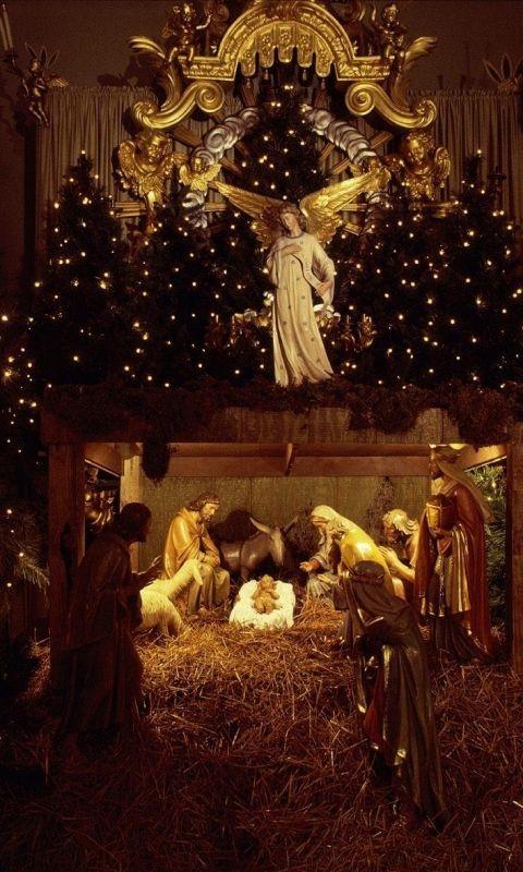 Joy To The World Beautiful Nativity Set In A Church Each
