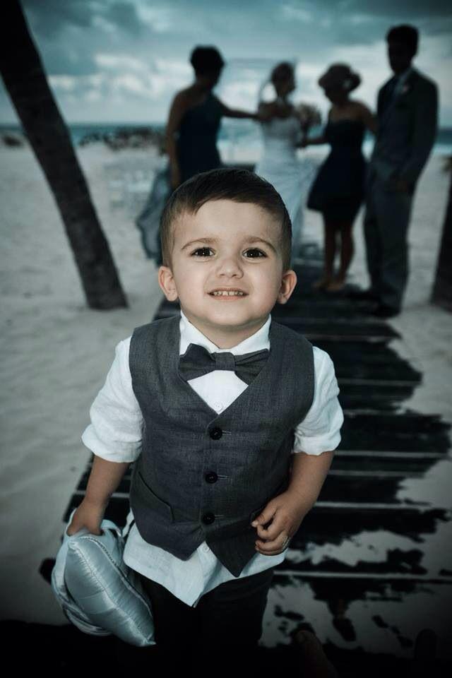 Cutest ring bearer. Grey toddlers linen suit. Beach wedding ...