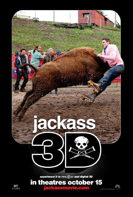 Jackass 3D , starring Johnny Knoxville, Steve-O, Bam Margera, Ryan Dunn. Johnny Knoxville and company return for the third installment of their TV show spin-off, where dangerous stunts and explicit public displays rule. #Documentary #Action #Comedy