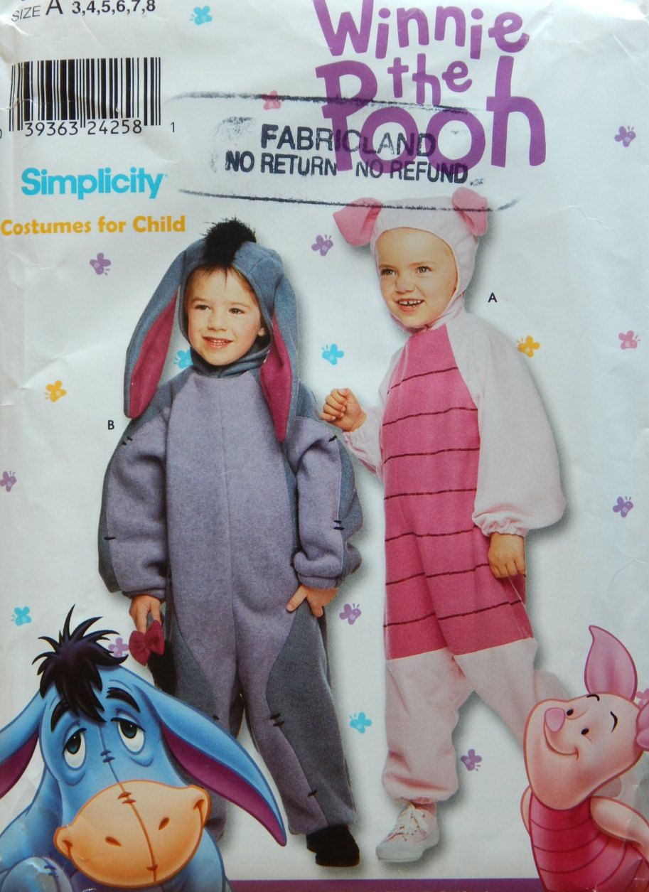 Eeyore And Piglet Costume Sewing Pattern Simplicity 9379 Childs Size 3 4 5 6 7 8 Friends Of Winnie The Pooh Halloween Dress Up Uncut B Etsy Costu