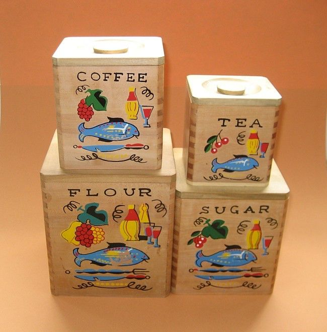 sale vintage kitchen canister set wood with bright graphics by