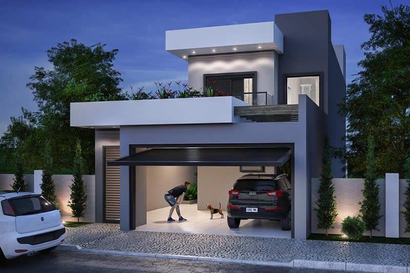 Plano de casa para terreno de 7x20 planos de casas for Fachadas exteriores de casas de dos plantas