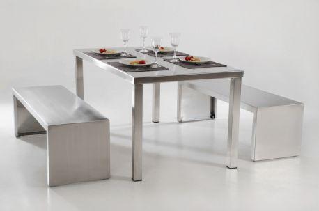 3er Set Sitzgruppe Edelstahl, Tisch 160 cm und 2 Bänke 140 cm