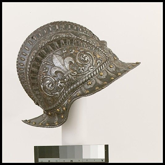 Burgonet for the Farnese Guard  Date: ca. 1545 Culture: Italian Medium: Steel, gold, brass