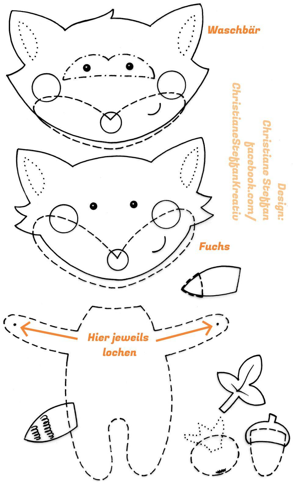 Vorlage Waldtier Girlande Waldtiere Fuchs