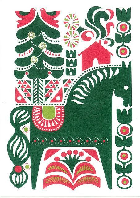Swedish Christmas Cards Scandinavian Christmas Pattern Christmas Scandinavian Folk Art Scandinavian Art Folk Art