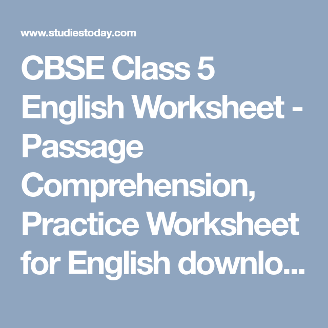 CBSE Class 5 English Worksheet - Picture Composition, Practice ...