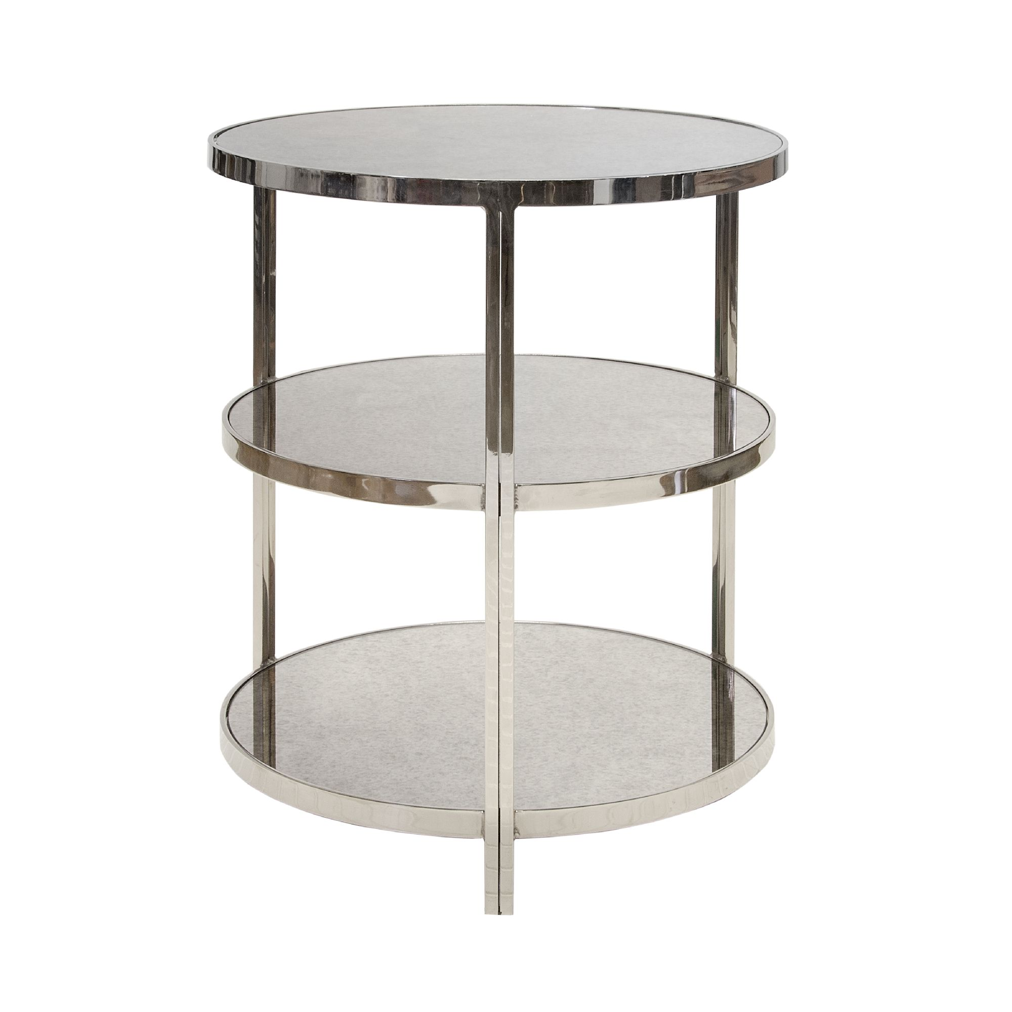 Worlds Away Audrey Nickel Plated Three Tier Side Table Glass Shelves Table Round Side Table