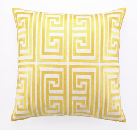 Trina Turk Acid Yellow Greek Key Embroidered Pillow