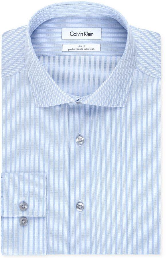 Macy S Calvin Klein Steel Non Iron Slim Fit Light Blue Stripe Performance Dress Shirt Calvin Klein Steel Performance Dresses Shirt Dress