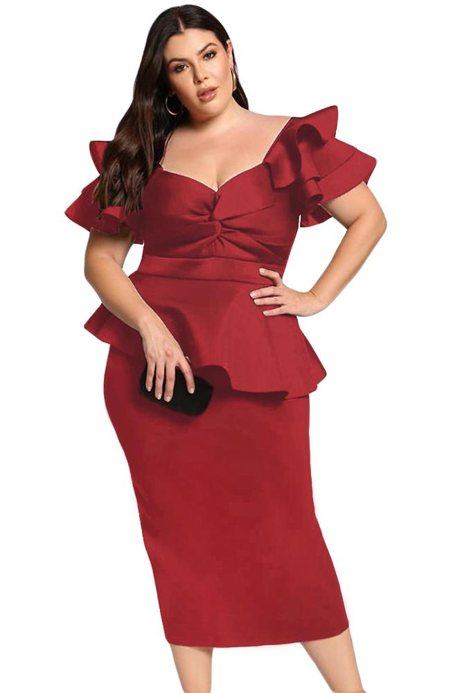 Women Burgundy Short Tiered Sleeve Front Twist Peplum Off