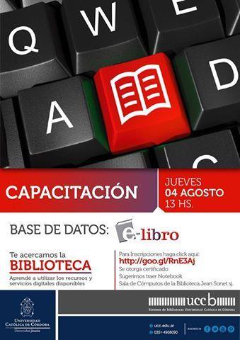 Próxima #Capacitación en base de datos de e-libro. Inscribite!