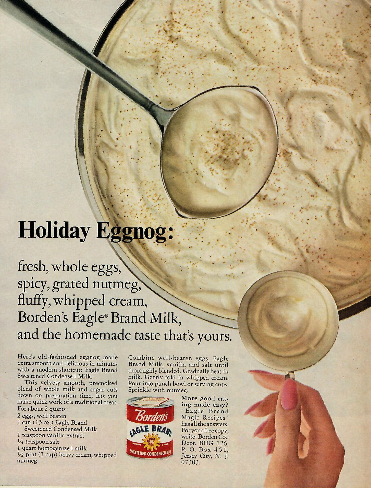 Holiday Eggnog From Borden S Sweetened Condensed Milk An Old Fashioned Eggnog Made Extra Smooth And Delicious In M Milk Recipes Vintage Recipes Holiday Eggnog