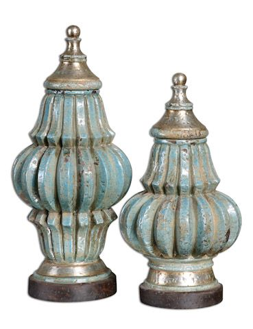 Decorative Urns With Lids Fatima Sky Blue Decorative Urns  Urn Lights And Interiors