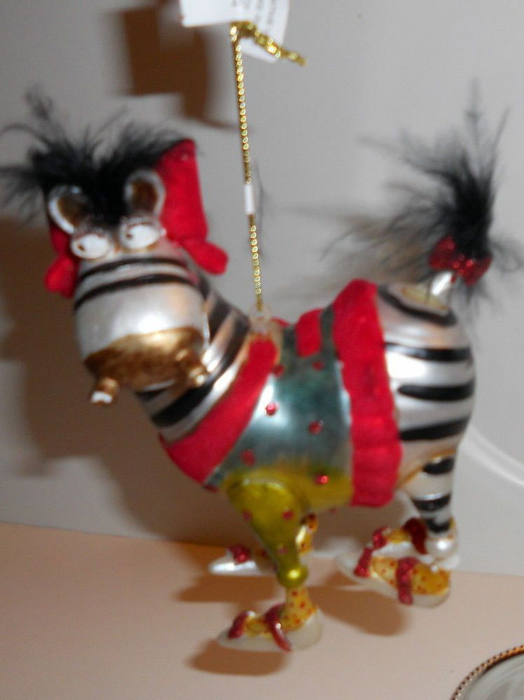 The Bombay Company Whimsy Zebra Glass Christmas Ornament-NWT  #TheBombayCompany - The Bombay Company Whimsy Zebra Glass Christmas Ornament-NWT