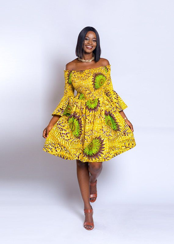Ankara dress women dress African ankara print off shoulder elastic neck african clothing African fashion African wear African attire