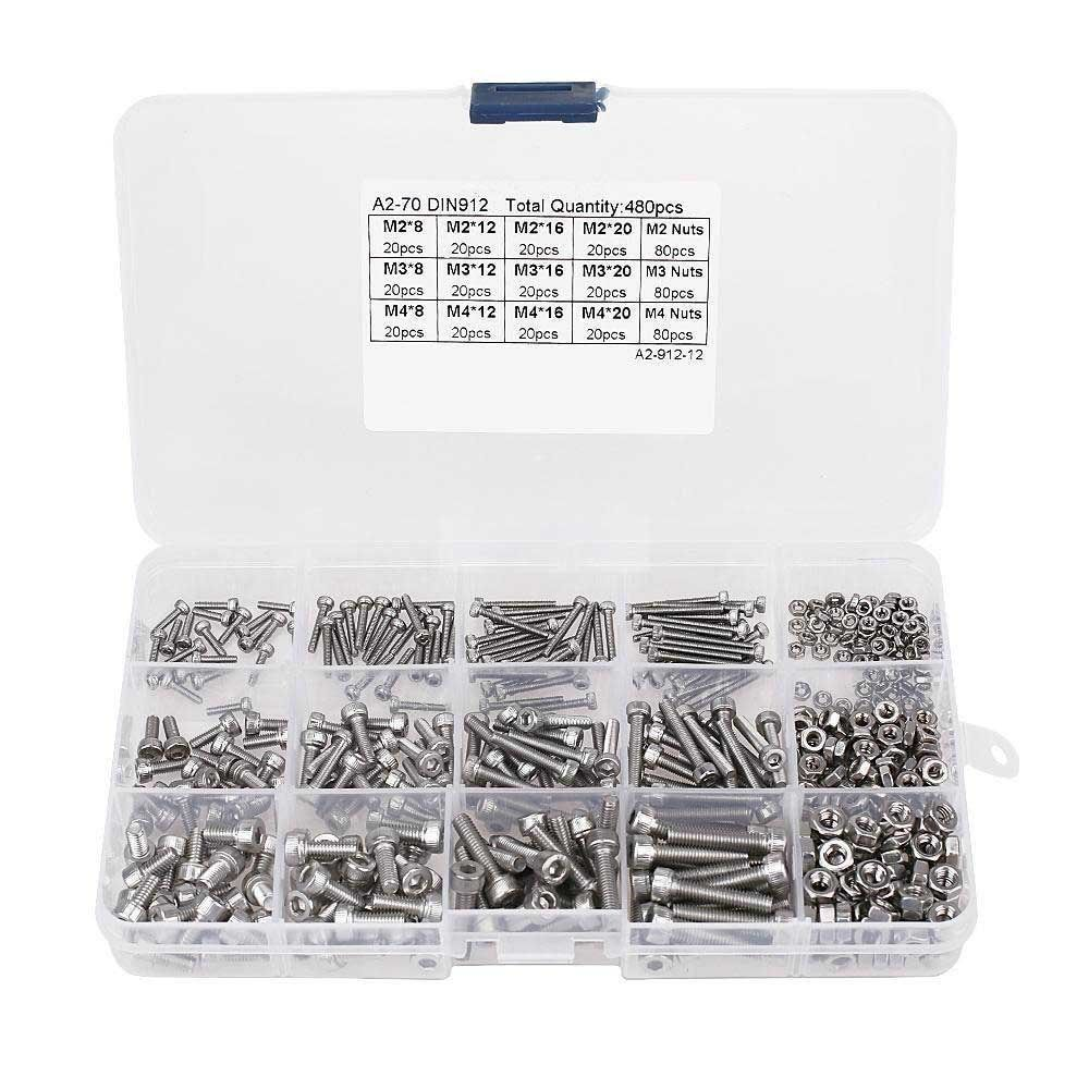 280Pcs M3 Screw Hex Socket Head Cap Screw Bolt Nut Assortment Set with Storage Box Alloy Steel Socket Head Cap Screws